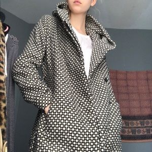 Jackets & Blazers - gray and white warm pea coat with hood